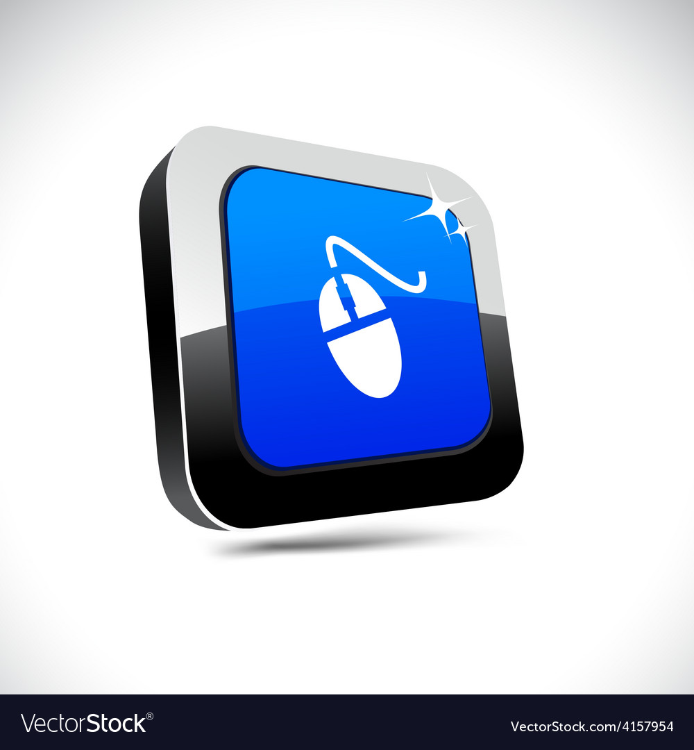 Mouse 3d square button vector image