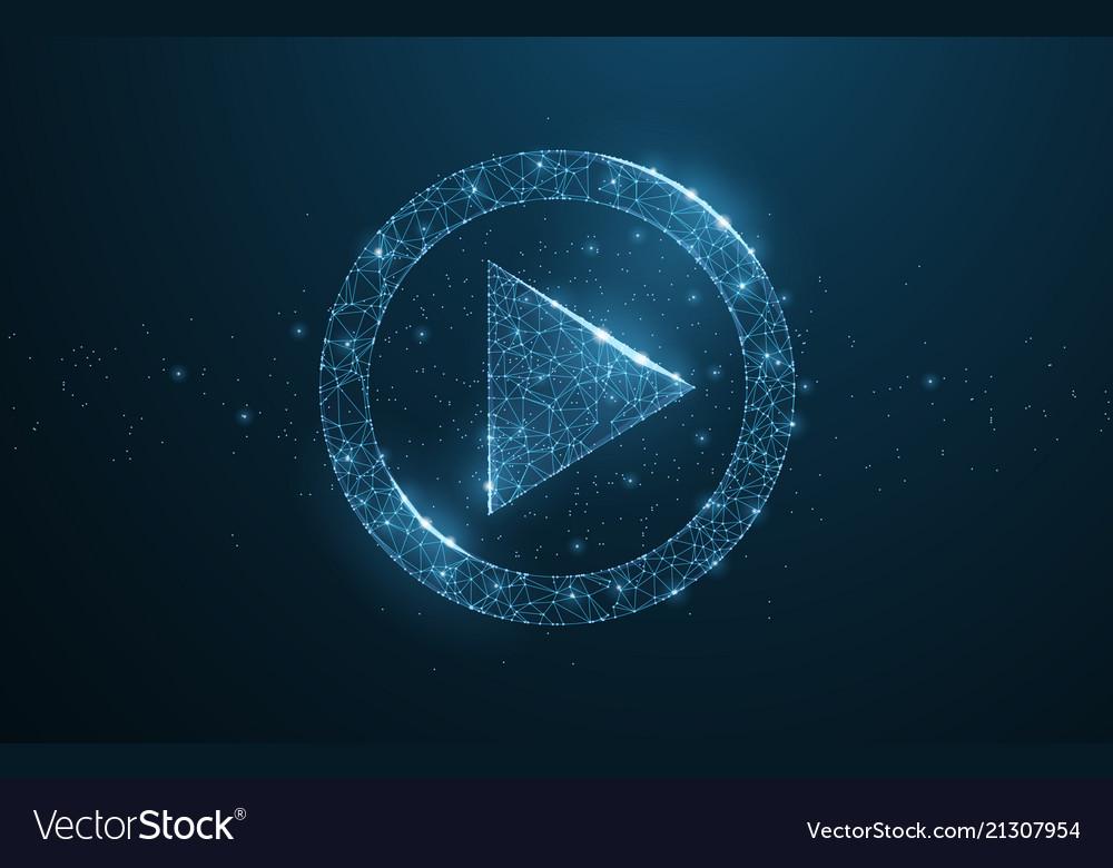 Polygonal wireframe play icon looks like