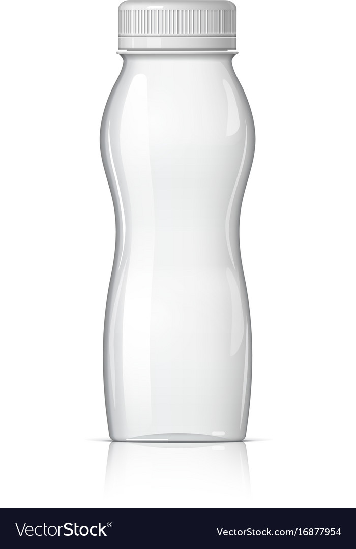 Realistic plastic bottle for yogurt