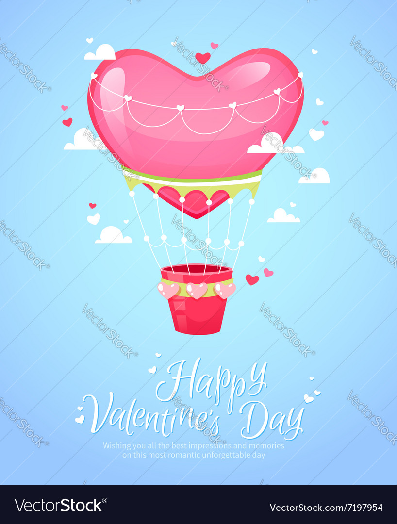 Romantic heart shaped air balloon retro postcard