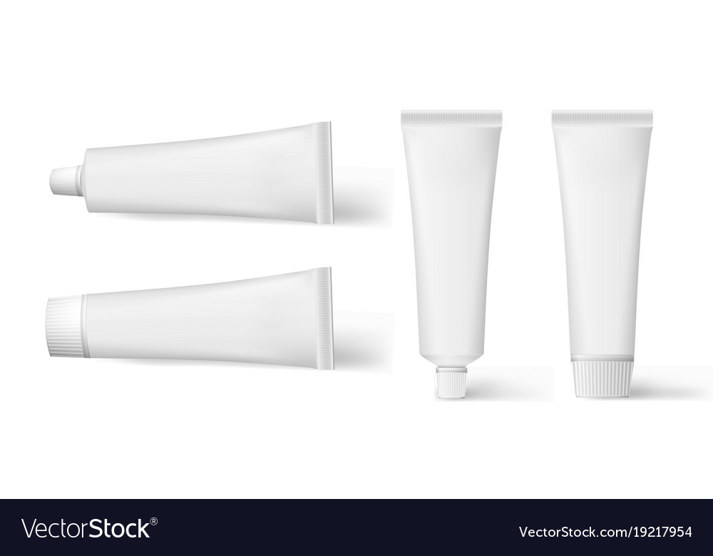Set of realistic cosmetic white cream tube set of vector image