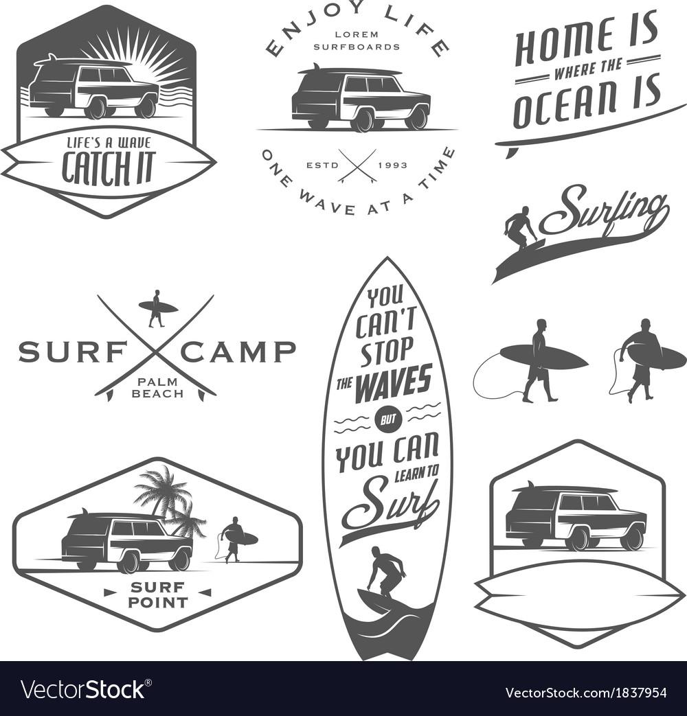 Set vintage surfing design elements