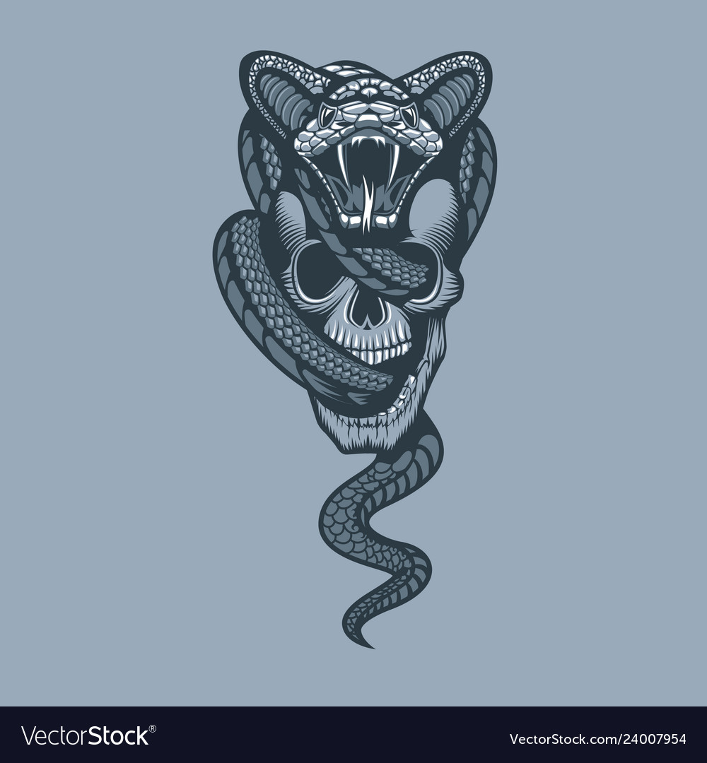 Snake through skull monochrome tattoo style