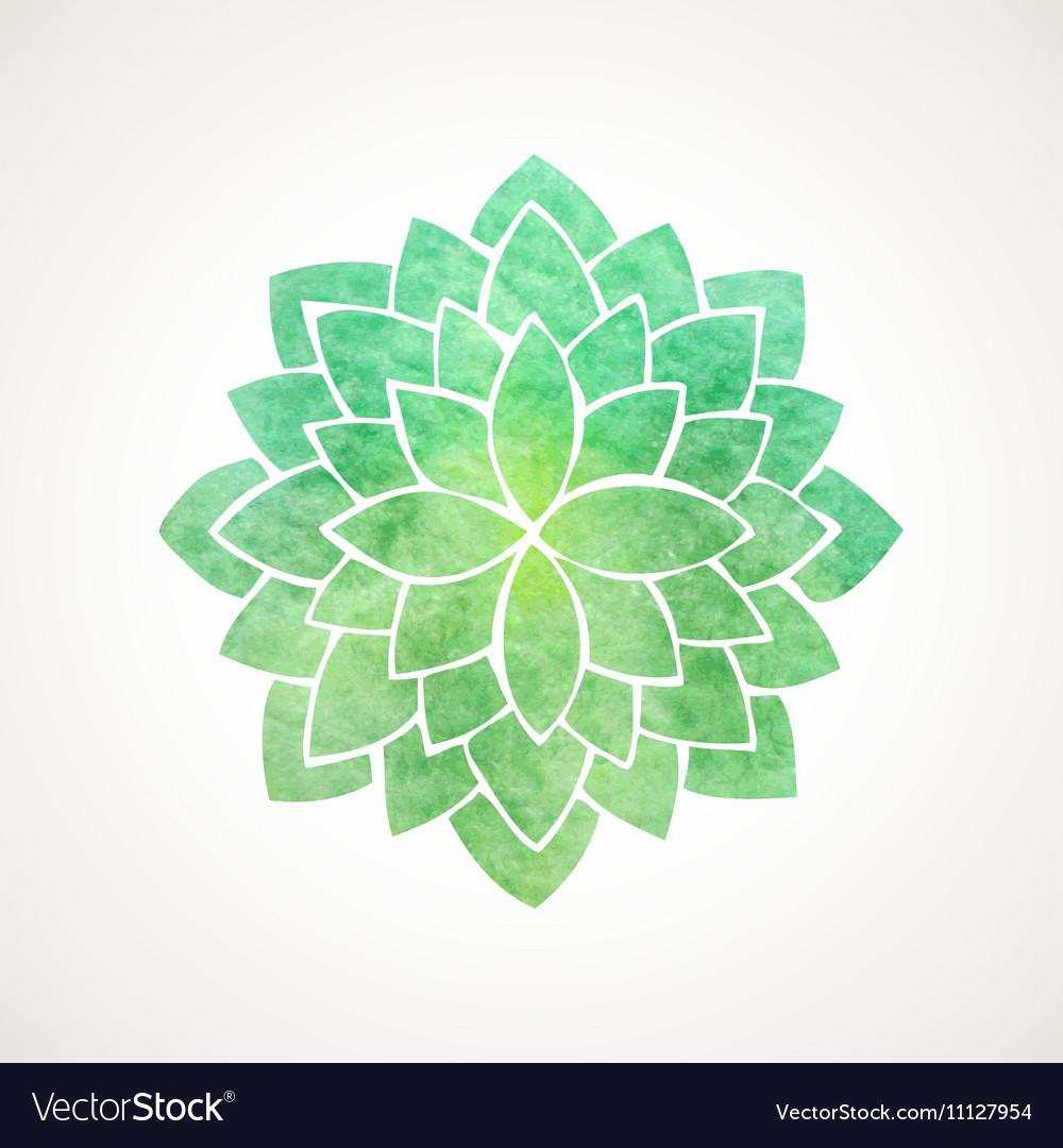 Watercolor lotus flower green color Royalty Free Vector