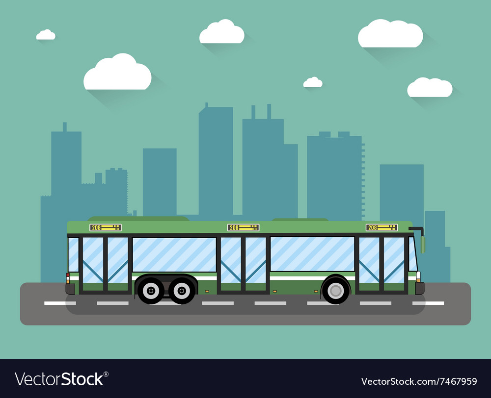 City bus in front of houses