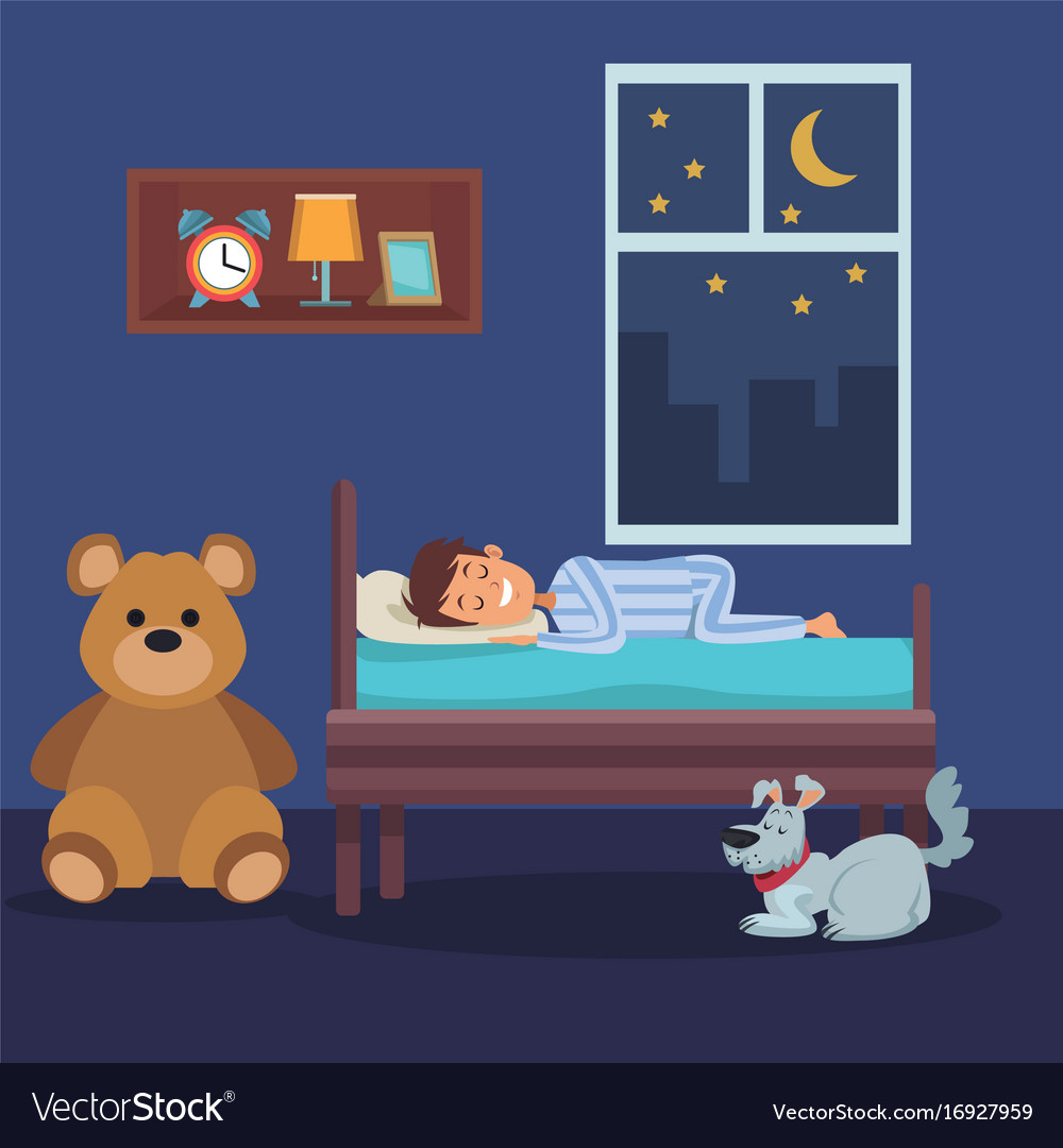 Colorful scene boy sleep in bedroom with pet dog vector image