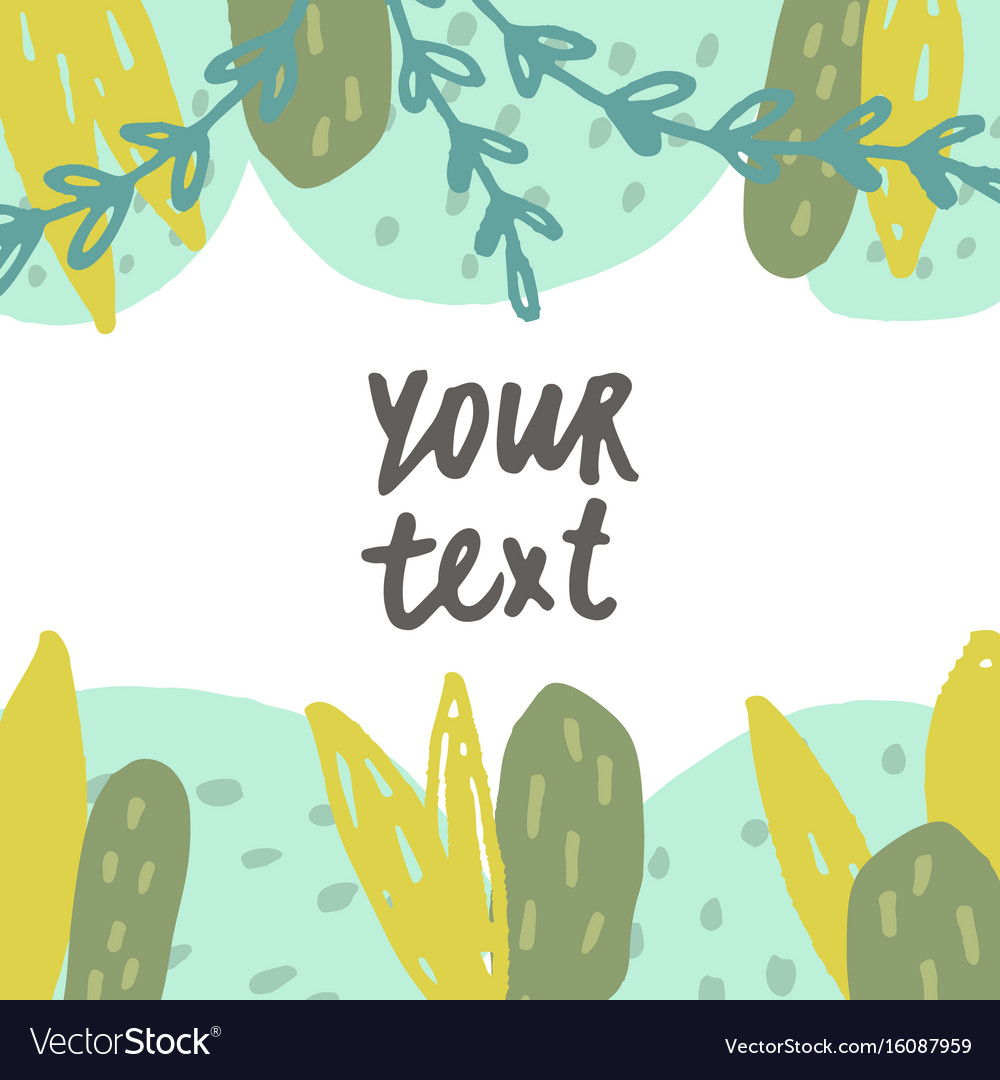 Cute hand drawn plants card template vector image