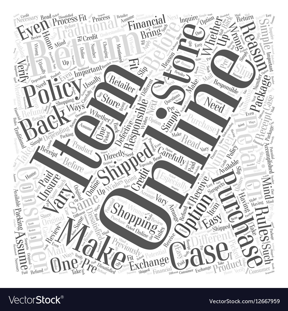 Easy Returns With Online Shopping Word Cloud