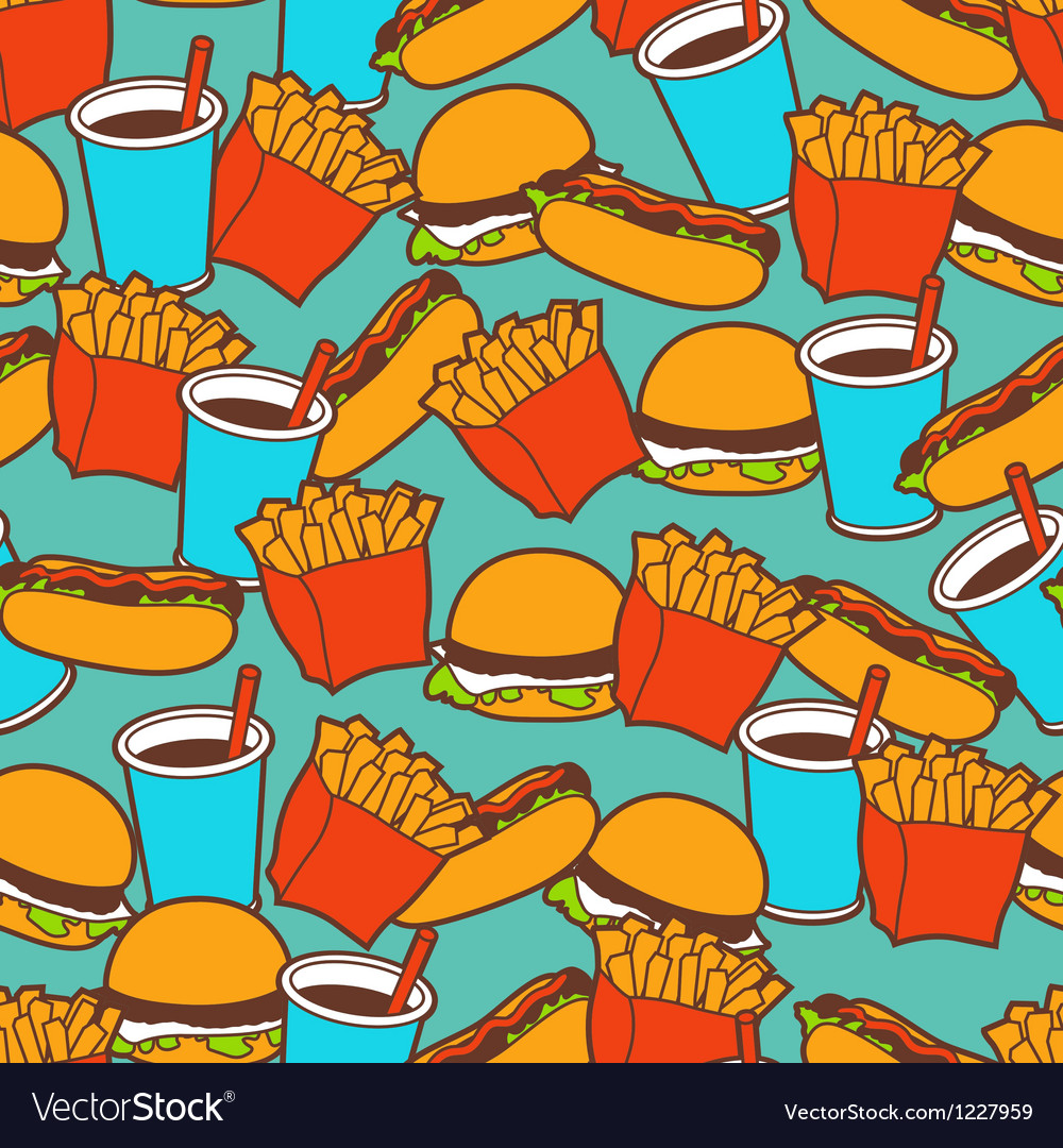 Fast food seamless pattern in retro style