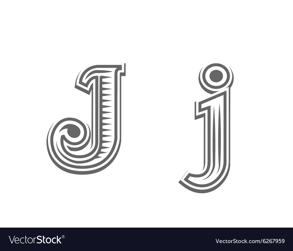 Font tattoo engraving letter J