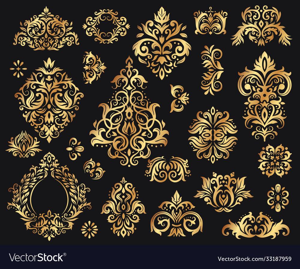 Golden damask ornament vintage floral sprigs