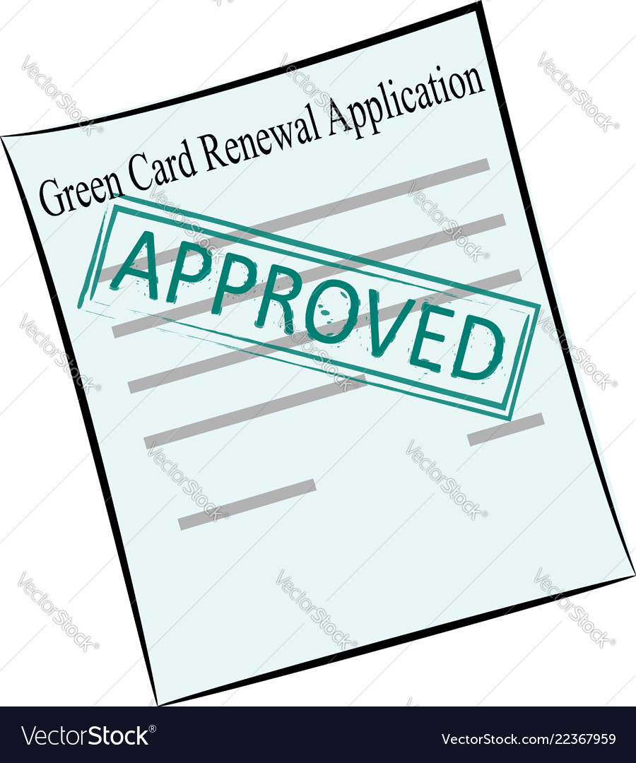 Green card renewal application on the stamp
