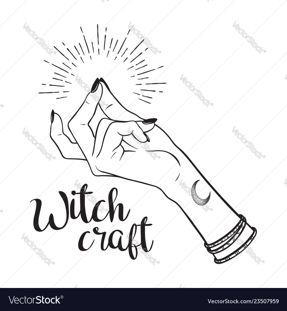 Hand drawn witch hand with snapping finger gesture