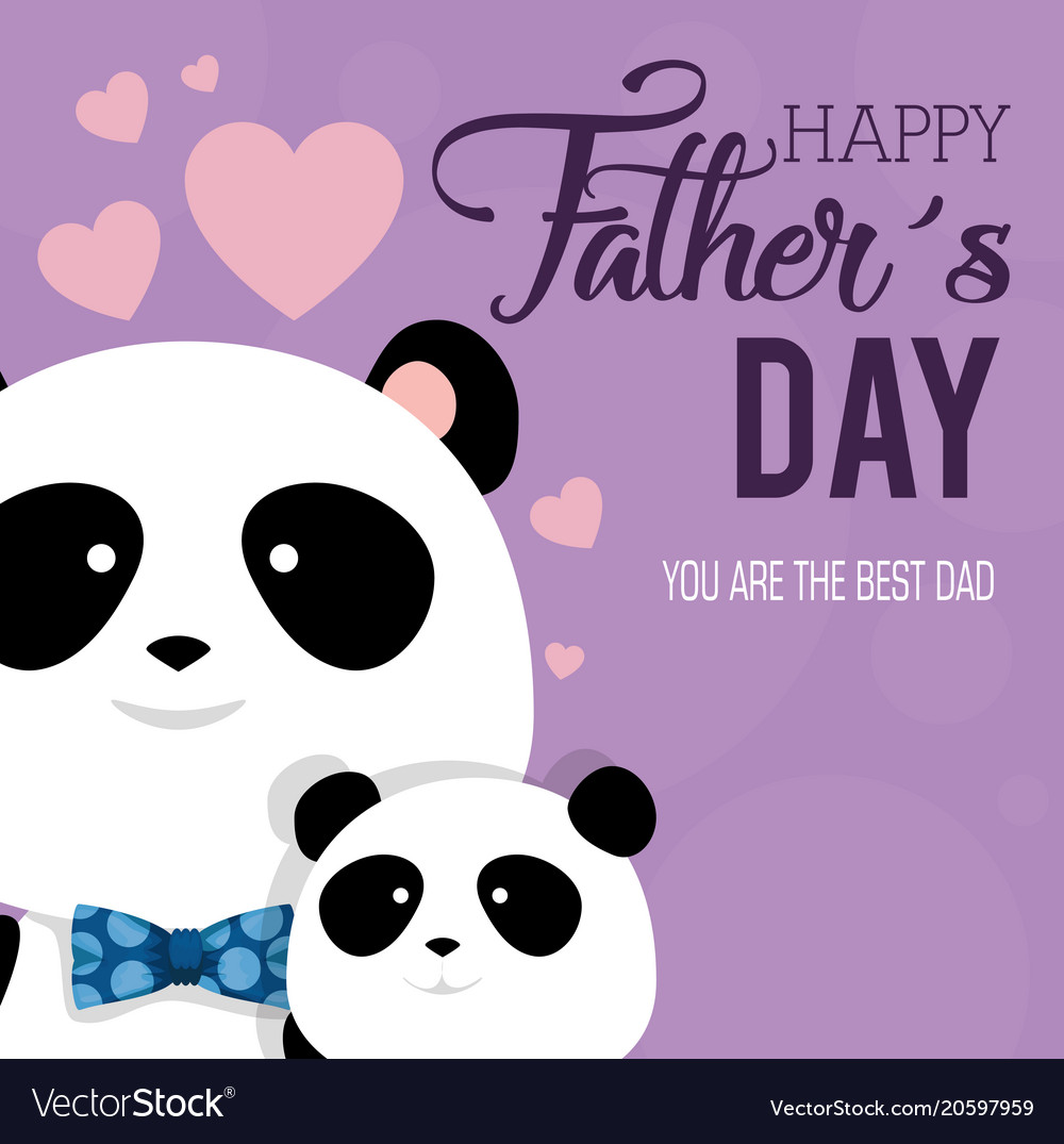 Happy Fathers Day Card With Panda Bears Royalty Free Vector