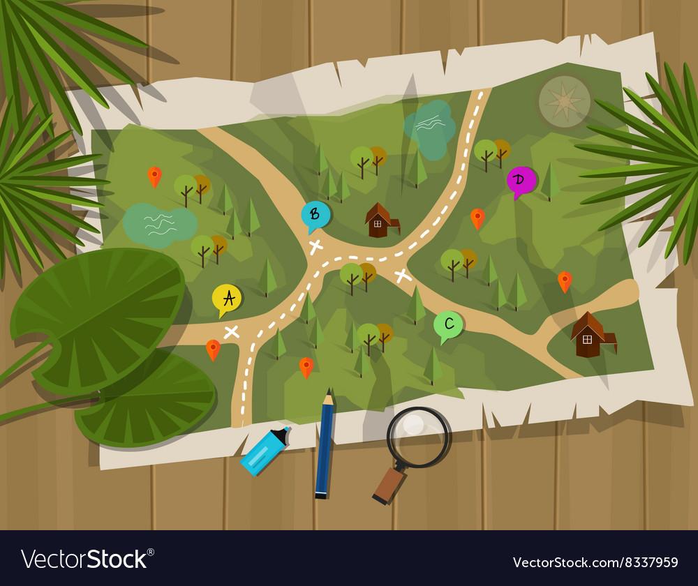 Map jungle cartoon treasure hunter