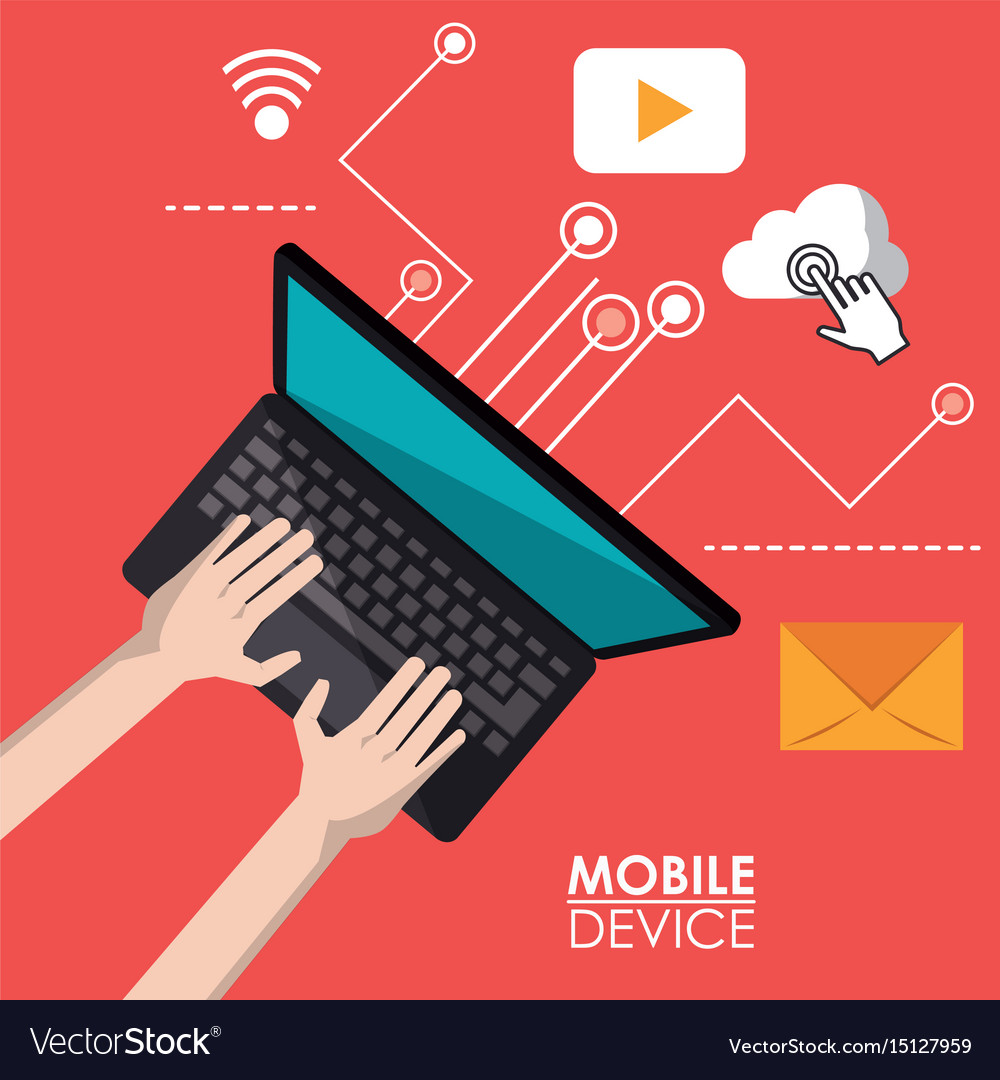 Red poster mobile device of laptop computer in top vector image