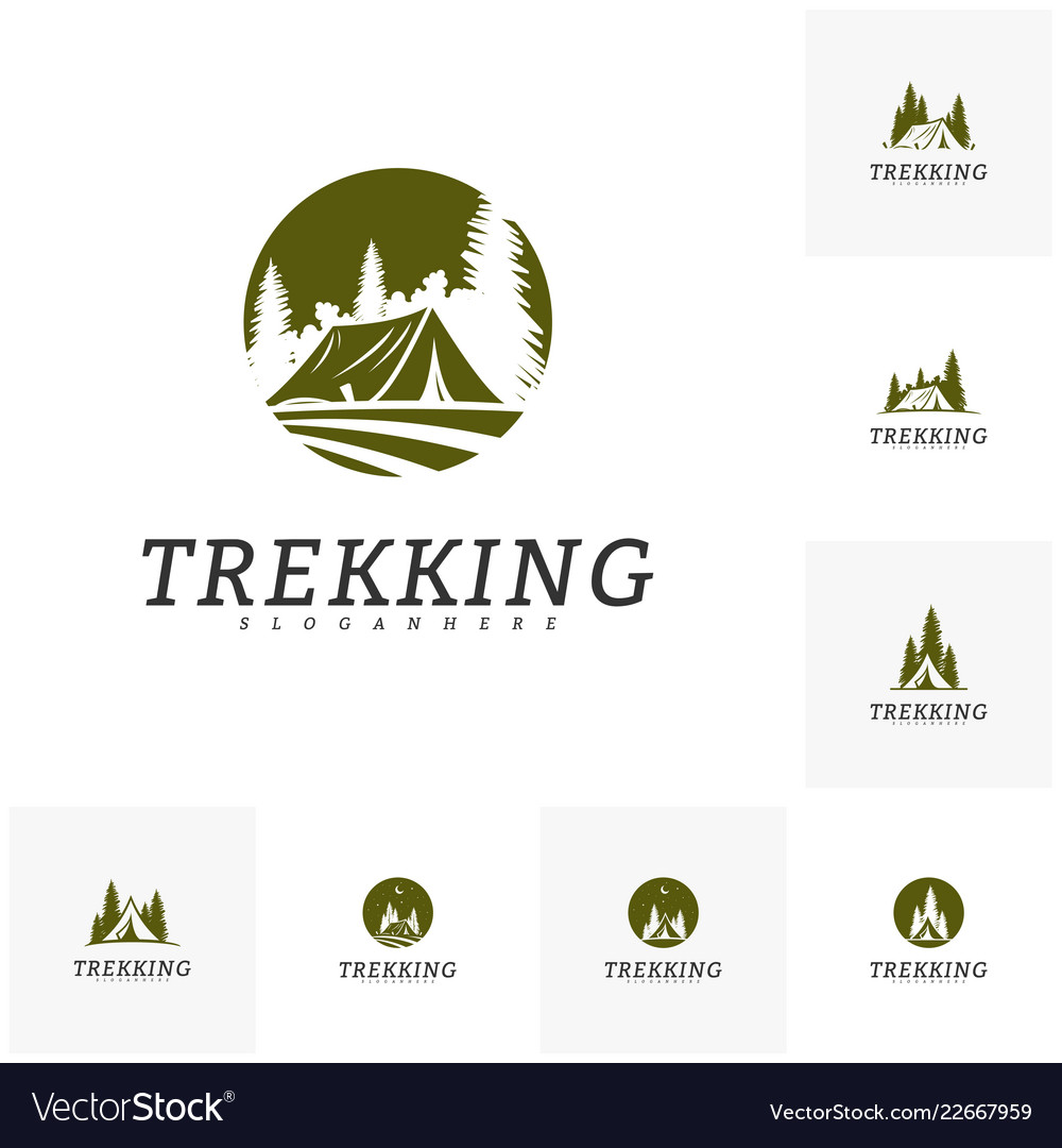 Set of camping logo template outdoor activity