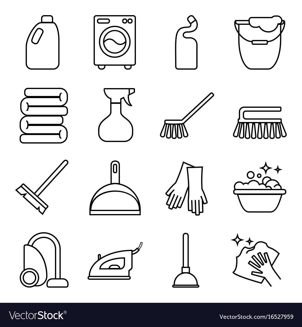 Set of isolated cleaning icon white