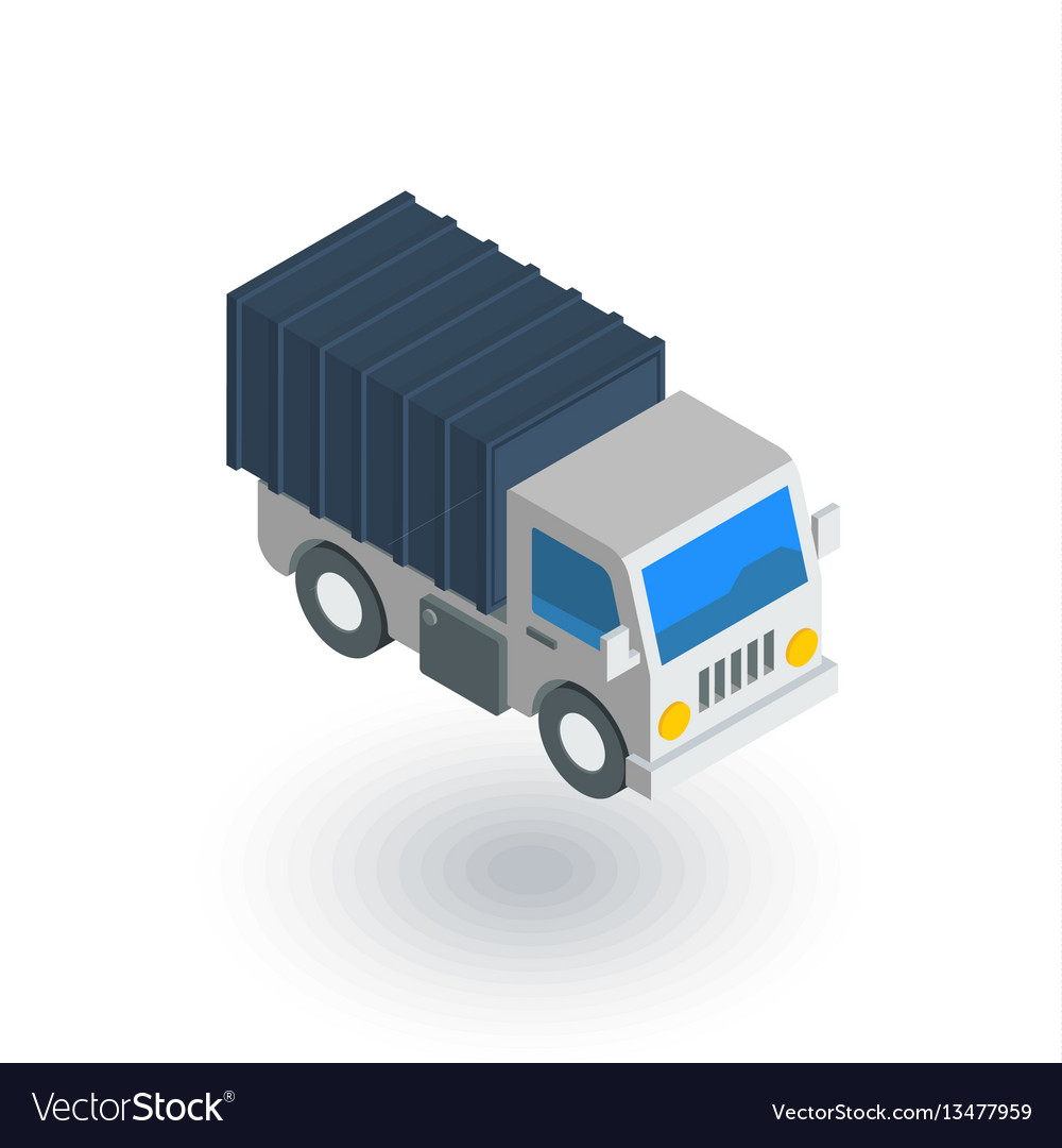 Truck cab van body container isometric flat icon