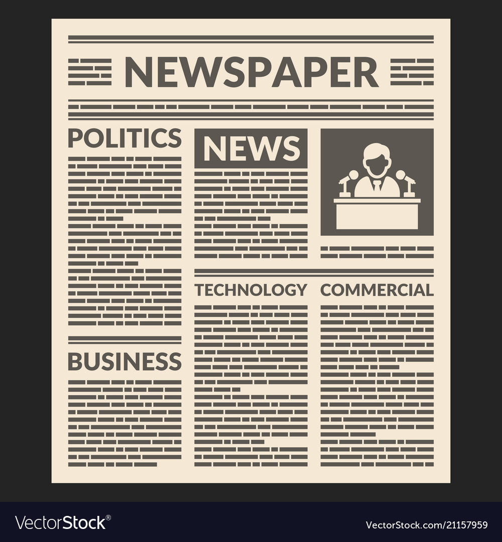 Vintage newspaper template Royalty Free Vector Image
