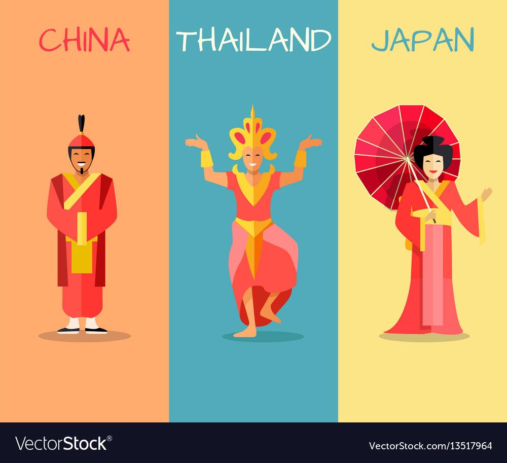 Asian cultural attractions concept set vector image