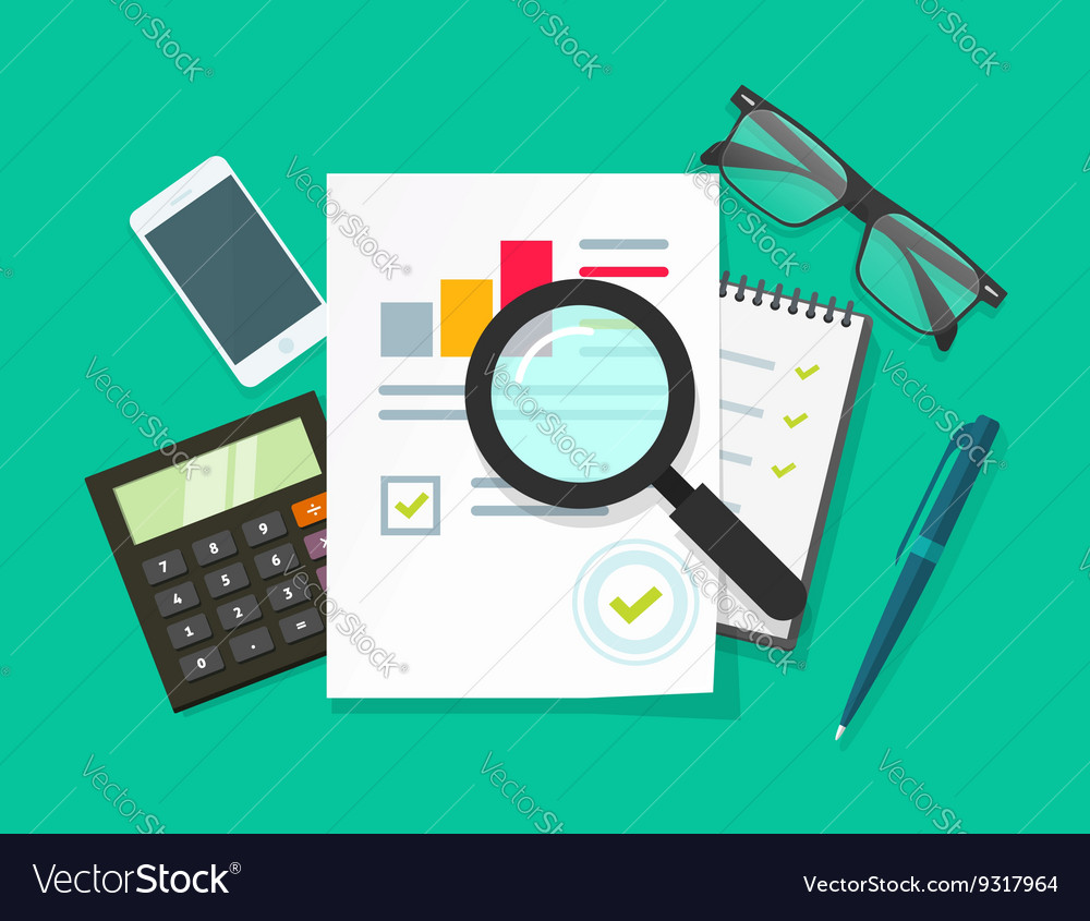 Auditor work desk accounting business research