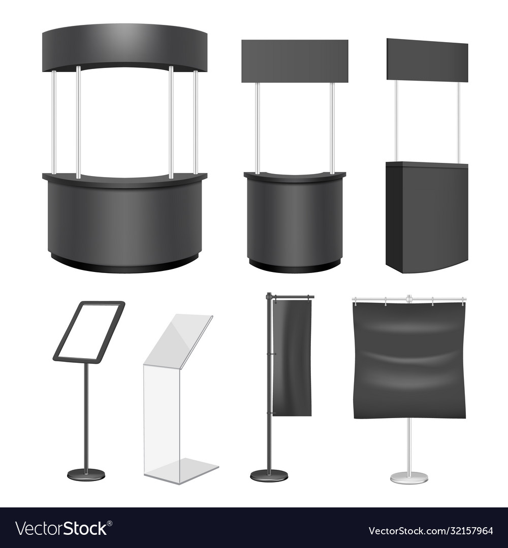 Black exhibition stand mockup set isolated