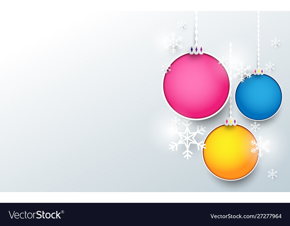 Colorful christmas balls with snowflake background