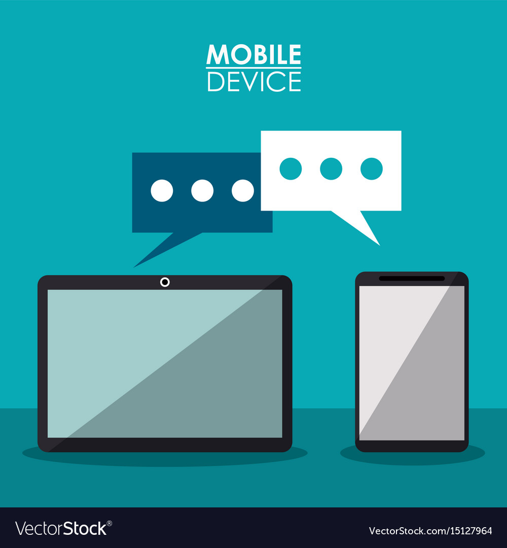Colorful poster mobile device with communication vector image