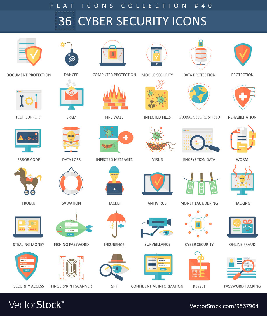 Cyber security flat icon set Elegant style vector image