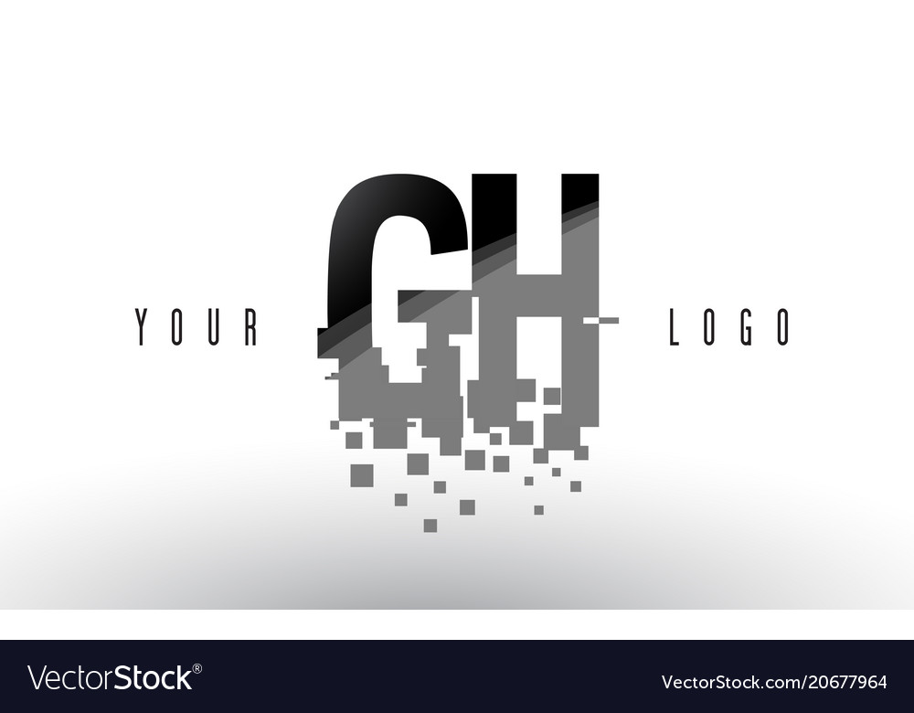 Gh g h pixel letter logo with digital shattered