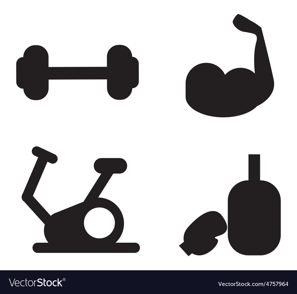 Gym icons vector image