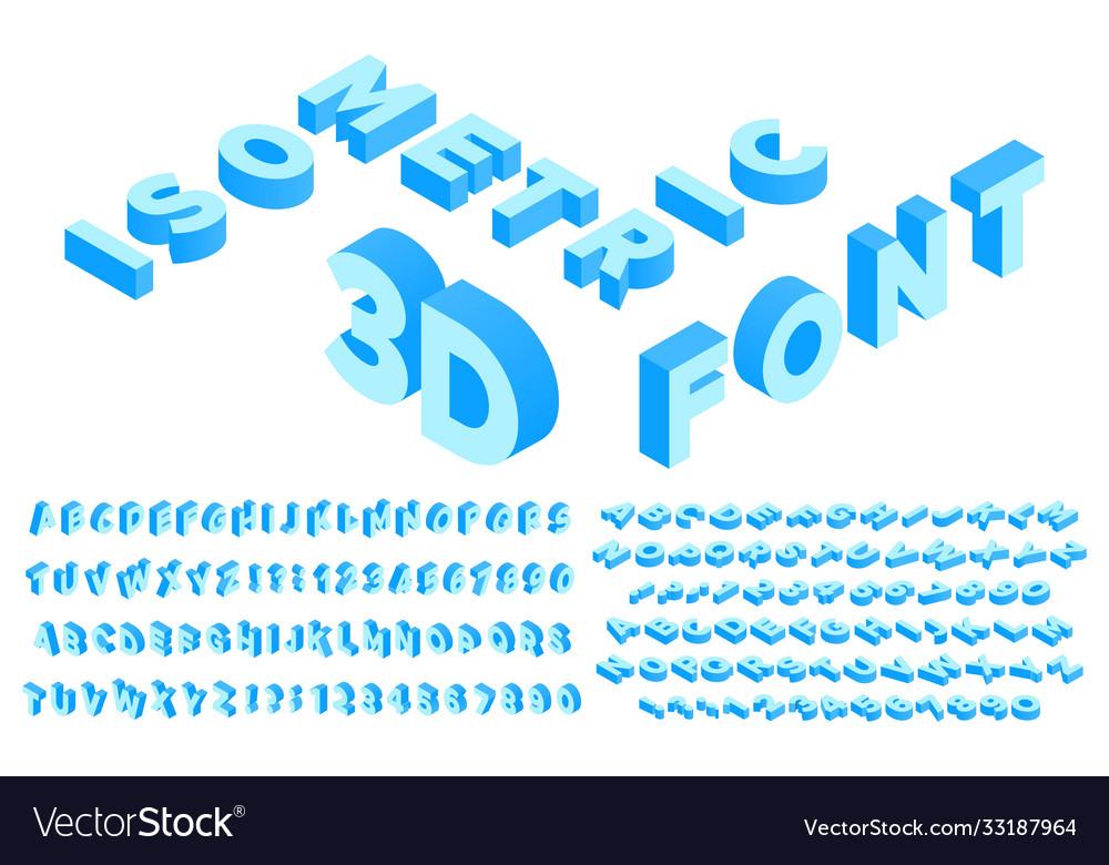Isometric 3d font perspective alphabet lettering