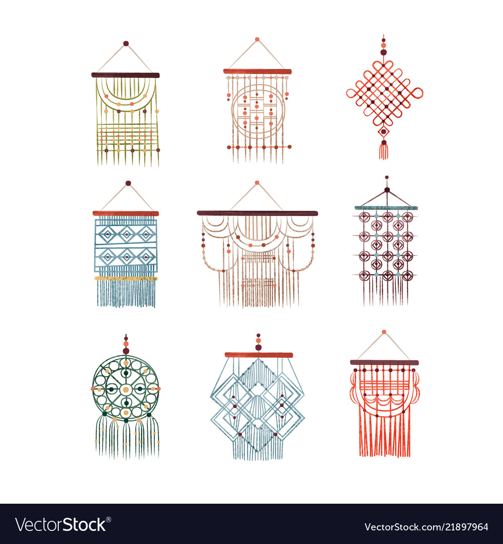 Macrame hangings set elegant handmade home