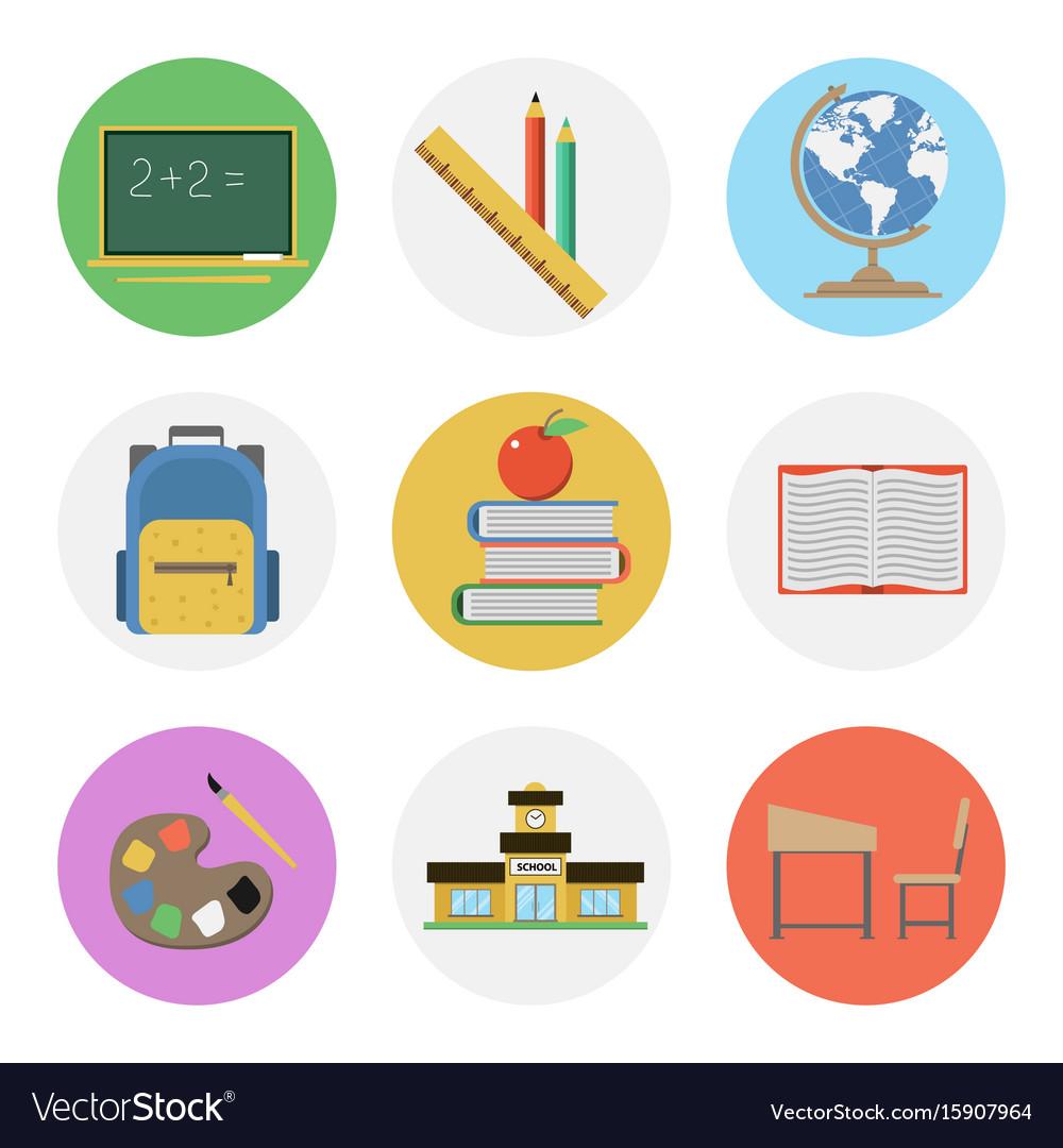 Nine color flat icon set - school