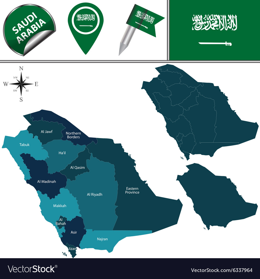 Saudi Arabia map with named divisions Royalty Free Vector
