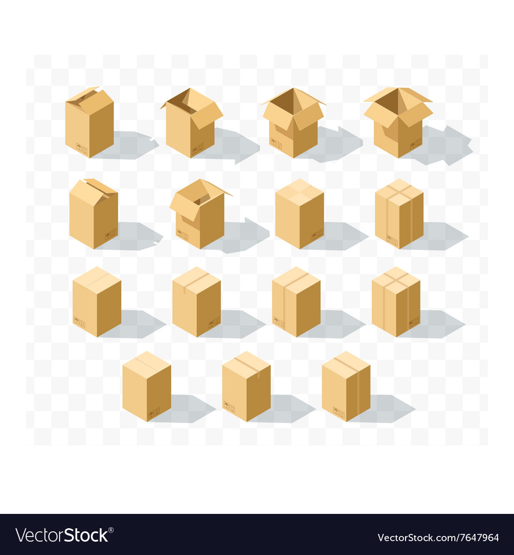 Set of 15 realistic isometric cardboard boxes with