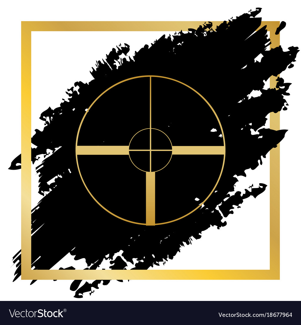 Sight sign golden icon at vector image