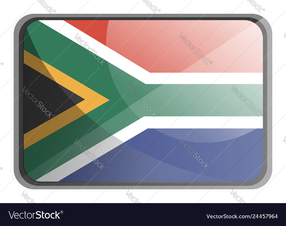 South africa flag on white background