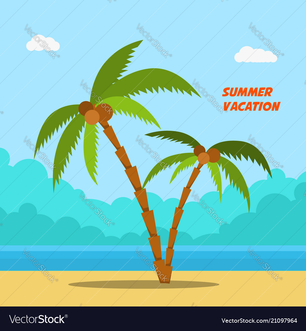Summer vacation cartoon style banners with palms