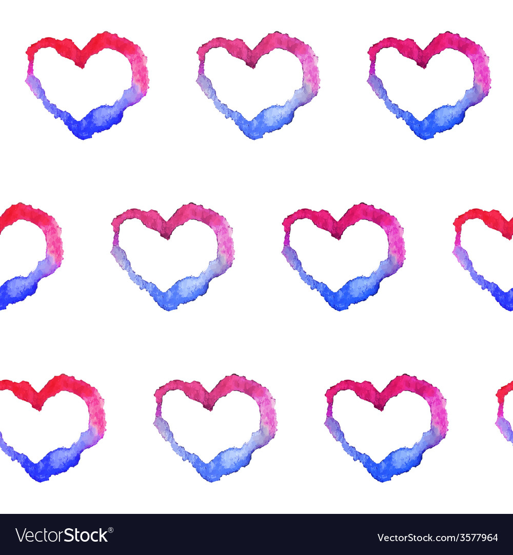 Watercolor gradient hearts seamless pattern