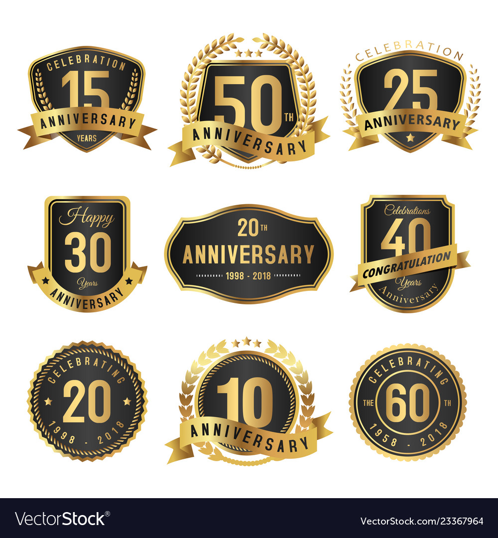 Years anniversary label gold and black