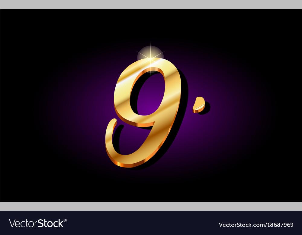 9 nine number numeral digit golden 3d logo icon
