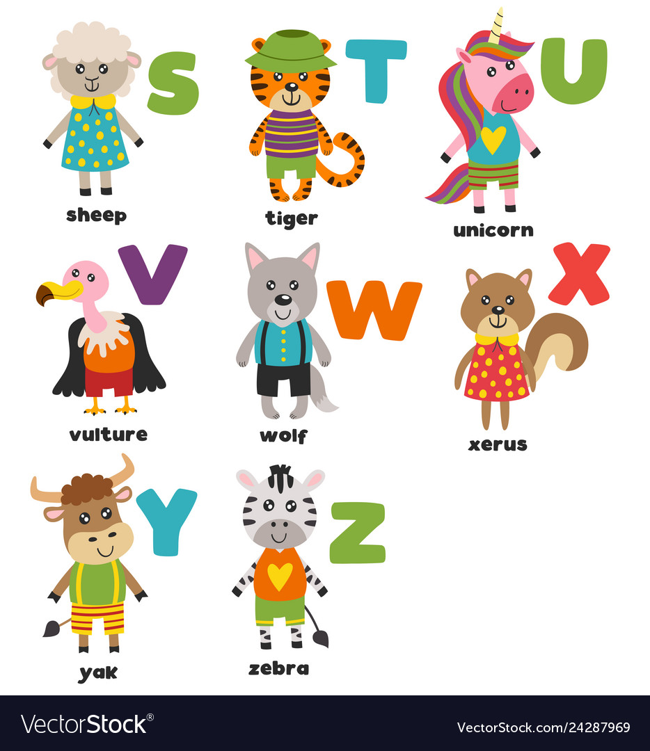 Alphabet with cute animals s to z