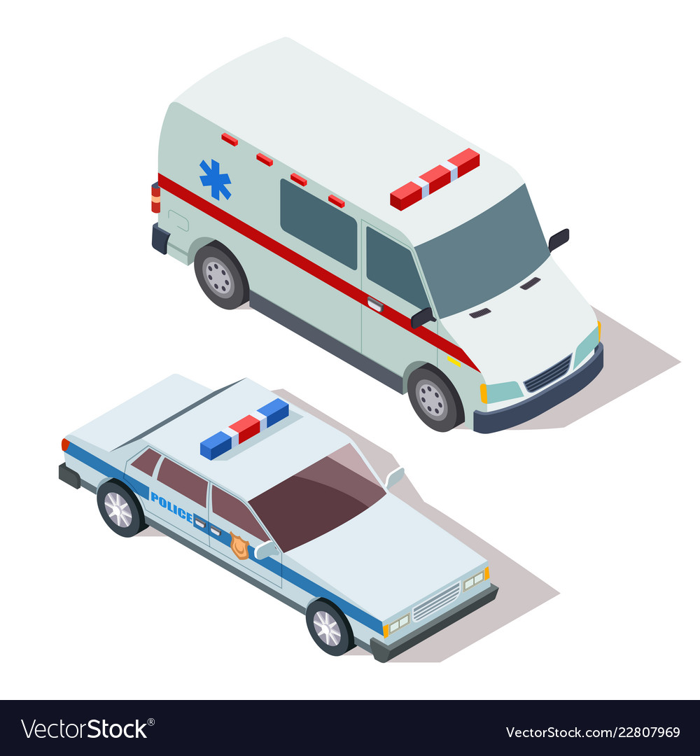 Ambulance And Police Cars 3d Isometric