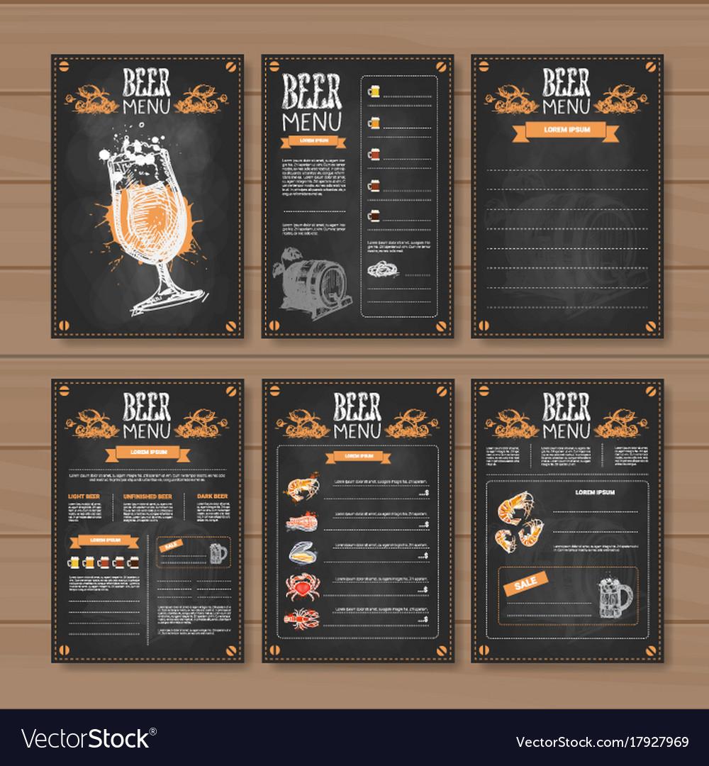Beer menu set design for restaurant cafe pub