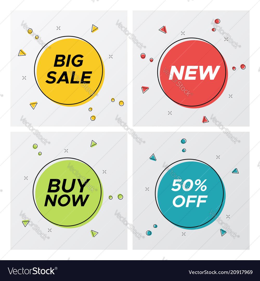 Bright geometric sale labels with particles burst