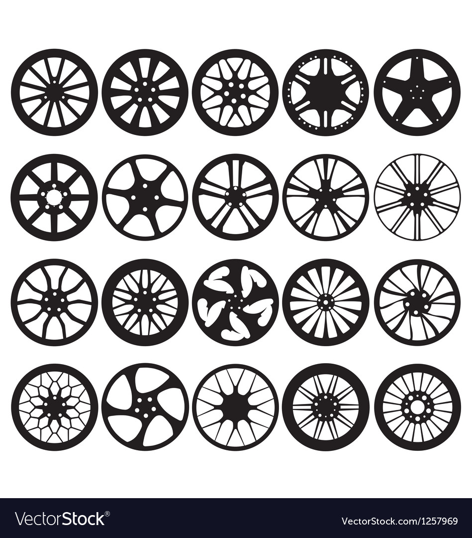 Car wheel rim silhouettes
