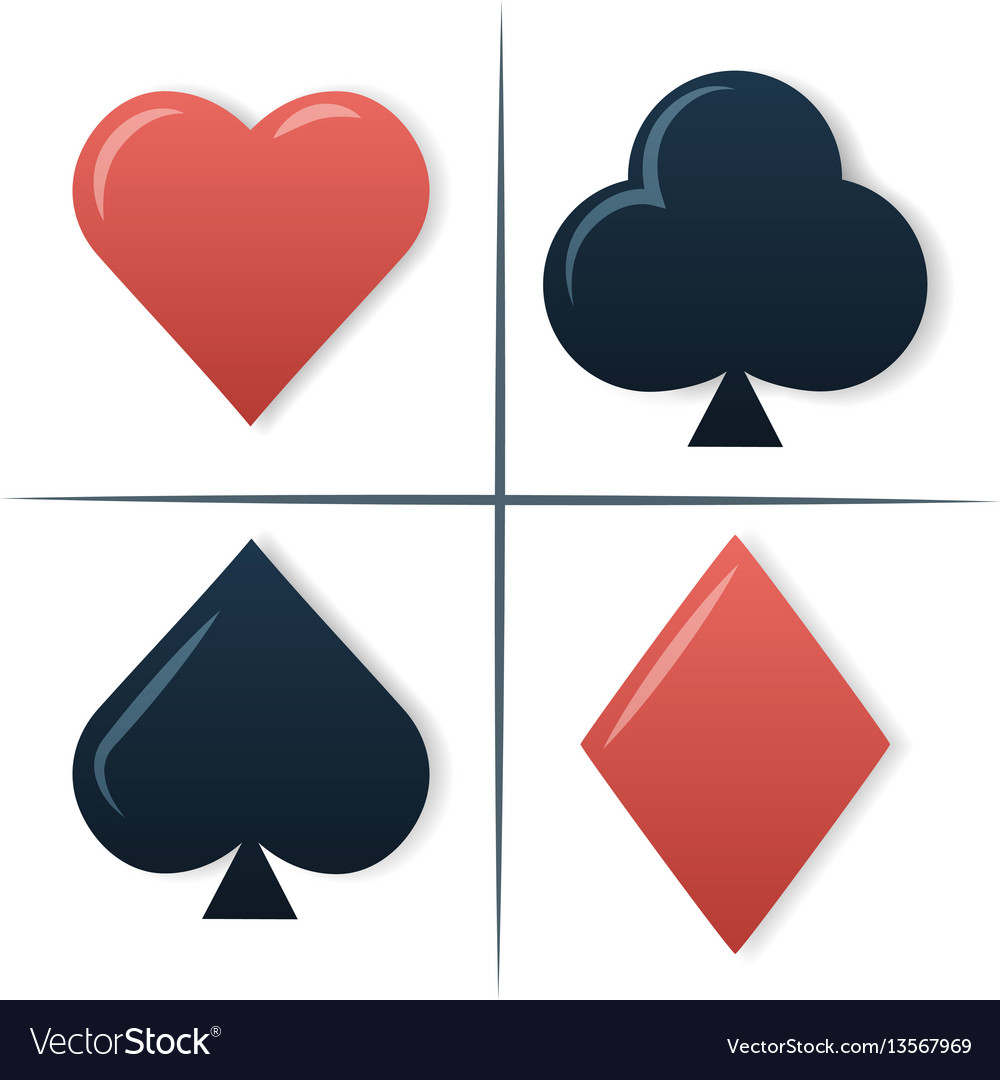 Colorful Playing Cards Symbols Set On White Vector Image