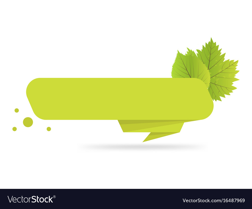 Green paper origami banners with leaves template vector image